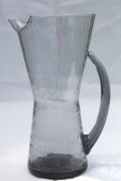 Retro 60s Italian glass martini pitcher, smoke grey optic hand-blown art glass