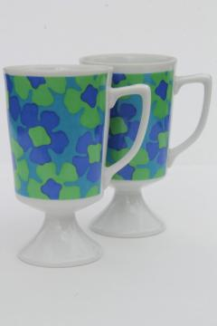 retro 60s mod vintage blue & green daisy print china tall cups coffee mugs
