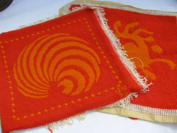 Retro 60s needlepoint - pictures, pillow tops or chair seats in mod flame red / orange