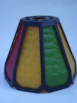 Retro 60s plastic lamp or pendant light shade, fake stained leaded glass