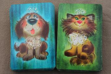 Retro 60s playing cards w/ shaggy dog & cat prints, vintage big-eyed pets