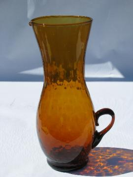 Retro 60s Spanish hand-blown amber glass sangria wine pitcher, vintage Spain