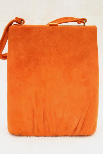 retro 60s vintage bittersweet orange suede leather purse, hard sided trapeze bag