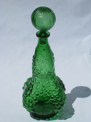 Retro 60s Vintage Italian Glass Wine Bottle Decanter Green Grapes