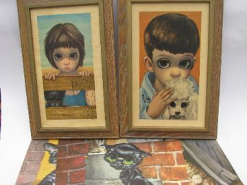 Retro 60s vintage Keane & Gig big-eyed boy & girl prints, dogs & cats