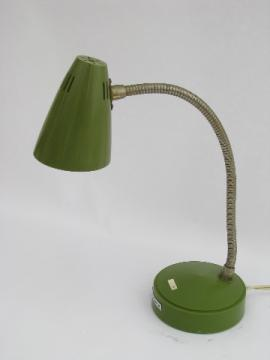 Retro 60s vintage lime green plastic desk lamp, mod gooseneck light
