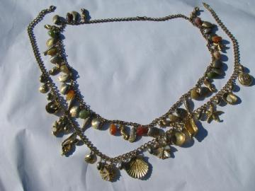 Retro 60s vintage metal charm necklaces, mermaid style, gold tone shells & beads