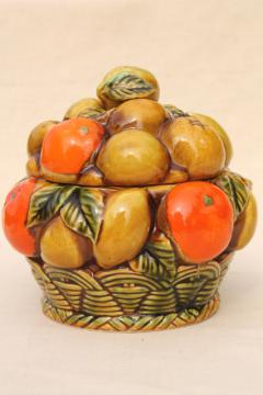 retro 60s vintage orange spice fruit Inarco Japan ceramic cookie jar, oranges & lemons