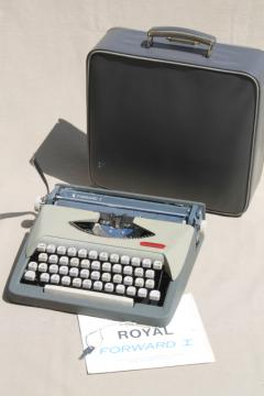 retro 60s vintage portable typewriter in locking case, Royal Forward I manual typewriter