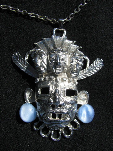 Retro 60s vintage tiki god metal pendant necklace & chain