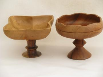 Retro 60s vintage tropical wood pedestal stand bowls, fruit bowl lot