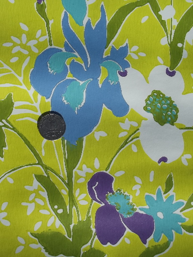 Retro 60s vintage wallpaper, violet purple & blue flowers on chartreuse green