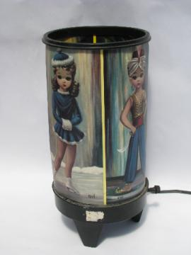 Retro 60s-70s big-eyed girls print canister lamp, pixie, genie, etc.