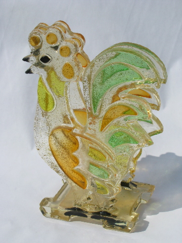 Retro 60s-70s vintage lucite paper napkin holder, colorful rooster