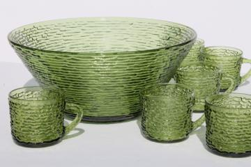 retro 70s Soreno avocado green textured glass, vintage punch cups & bowl set