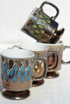 retro 70s ceramic coffee cups, vintage Japan mugs set, bronze brown drip glaze w/ mod pop of color