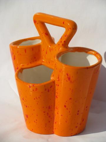 Retro 70s Flame Orange Handmade Ceramic Desk Organizer