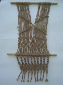 Retro 70s fringed macrame hanging, vintage hippy era wall art banner
