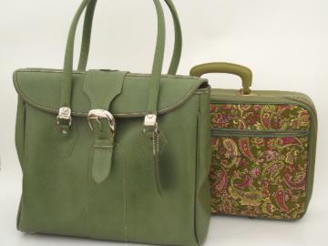 Retro 70s green paisley print suitcase (laptop case size)  & vintage satchel bag