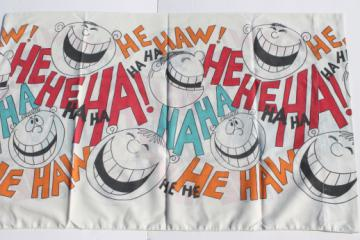Retro 70s Hee Haw goofy grins smiley face print cotton blend fabric single pillowcase