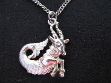 Retro 70s hippie vintage zodiac necklace, goat Capricorn astrological pendant & chain