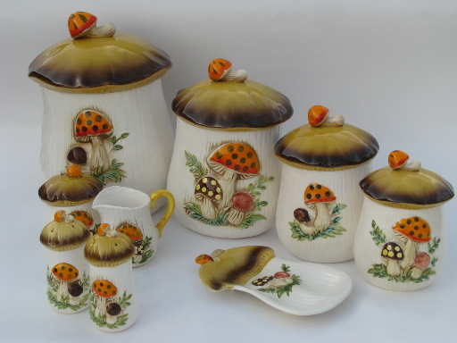 Retro 70s Merry Mushrooms canister and kitchen ware set ...