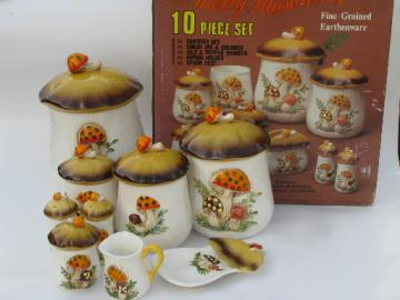 Retro 70s Merry Mushrooms canister and kitchen ware set, vintage Sears box