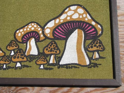 Retro 70s Mushrooms Print On Burlap Vintage Wood Framed