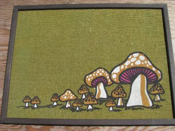 Retro 70s mushrooms print on burlap, vintage wood framed message board