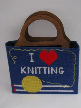 Retro 70s needlework tote bag w/ structured shape, I (heart) Knitting!