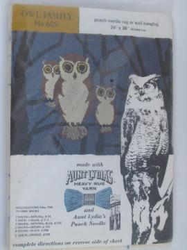 Retro 70s Owl Family cotton rug canvas for Aunt Lydia's heavy rug yarn