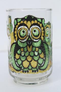 Retro 70s owl glass tumbler, collectible vintage jelly jar glass / pencil holder?