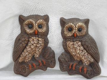 Retro 70s owl wall art plaques, pair of vintage owls