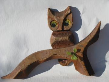 Retro 70s owls wall art, vintage hand-carved wood owl plaque
