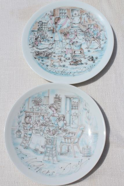 retro 70s vintage Haviland Limoges china plates, Mother's Day Breakfast & The Wash