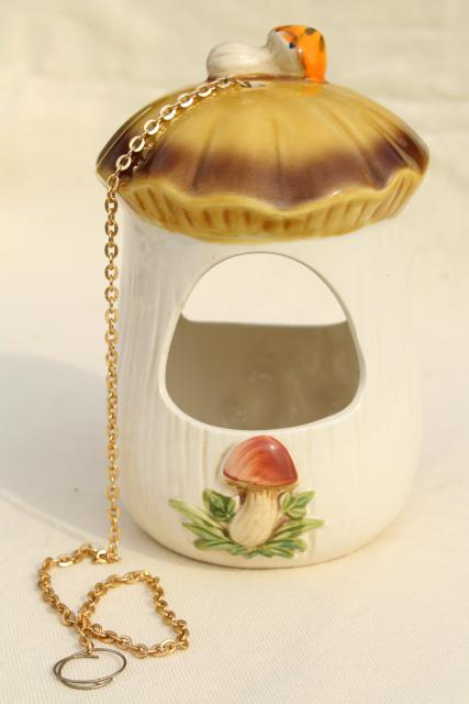 retro 70s vintage Merry Mushroom ceramic holder plant hanger for flower pot