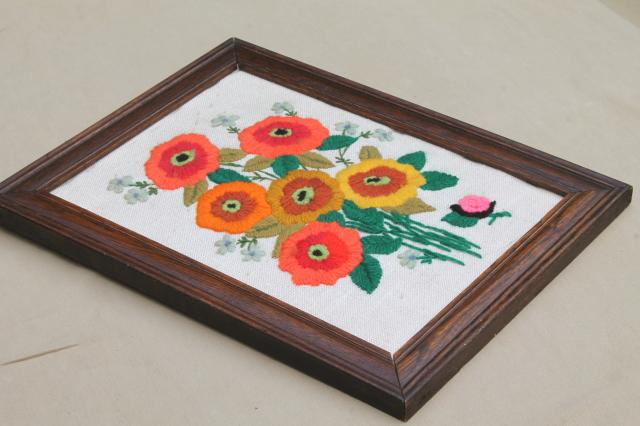 retro 70s vintage crewel yarn embroidery, bright embroidered poppies & snail