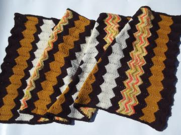Retro 70s vintage crochet afghan throw blanket, autumn colors for fall