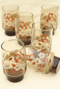retro 70s vintage drinking glasses, Libbey tawny smoke brown glass w/ orange butterflies