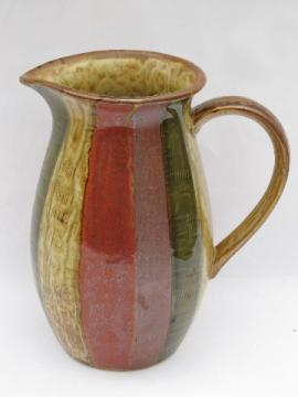 Retro 70s vintage earth tone glazes pottery pitcher, striped band