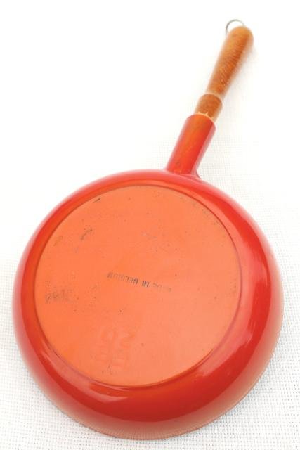retro 70s vintage flame orange enamel cast iron cassoulet pot & saute pan