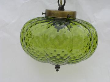 Retro 70s vintage hanging light swag lamp, lime green melon shape glass shade