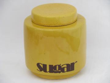 Retro 70s vintage McCoy pottery, mod Sugar canister, kitchen counter jar