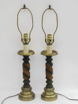Retro 70s vintage pair candlestick lamps, tall spiraled wood spindles