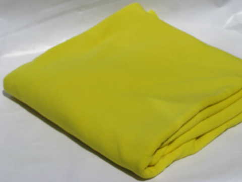 Retro 70s vintage polyester double knit fabric, banana yellow poly
