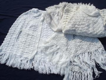 Retro 70s vintage poncho, shawl sweaters, fluffy  lacy white crochet