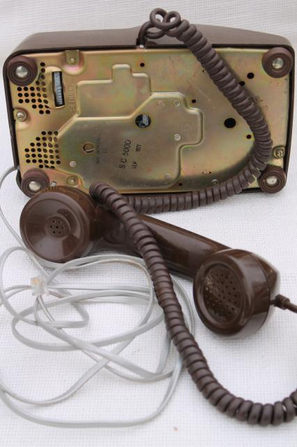 retro 70s vintage rotary dial phone, brown telephone w/ handset receiver & cord