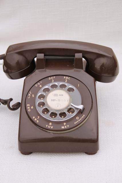 Retro 70s Vintage Rotary Dial Phone Brown Telephone W Handset Receiver Amp Cord