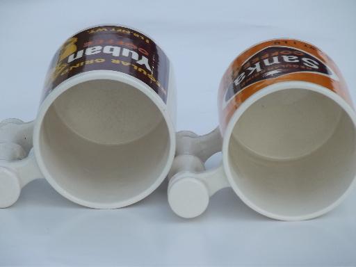 Retro 70s Vintage Sanka Amp Yuban Coffee Advertising Mugs