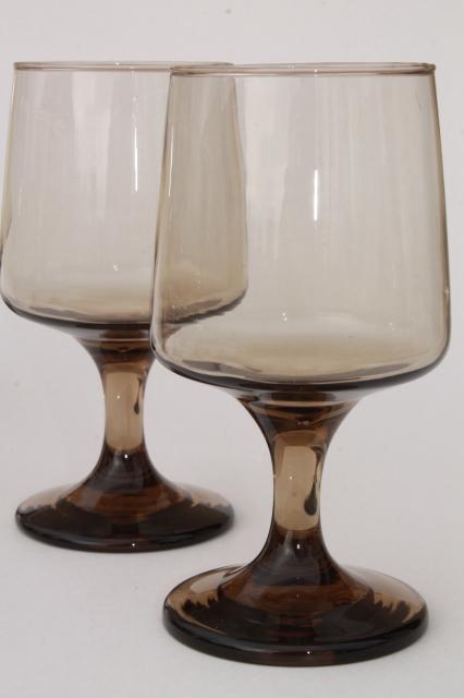 Retro 70s Vintage Smoke Brown Tawny Libbey Accent Wine